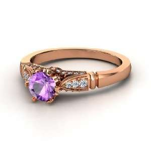 Elizabeth Ring, Round Amethyst 14K Rose Gold Ring with Diamond