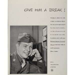 1943 Ad WWII Bell Telephone System Soldier Home Front