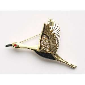Genuine Crystal Rhinestone Flying Swan Bird Fashion Jewelry Pin Brooch