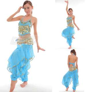 Hot Belly Dance Costume Top + Gold Wavy Pants Bloomers + Hip Scarf