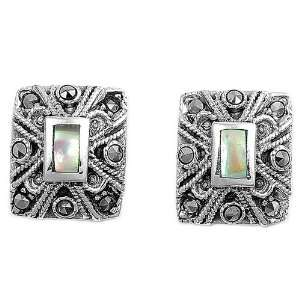 Sterling Silver Earrings with Marcasite and Abalone   12mm Jewelry