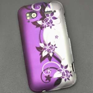 Purple Flower Print Rubberized Coating Premium Snap on