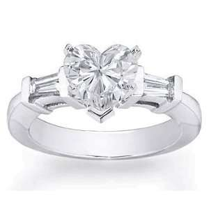 27Ct. 14K. White Gold Heart Shape Diamond Engagement Ring Jewelry