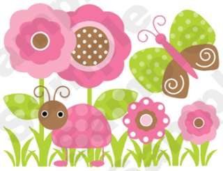 BUTTERFLY LADYBUG PINK BROWN WALL BORDER STICKER DECALS