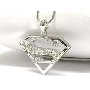 White Gold Plated Superman Symbol Pendant Necklace