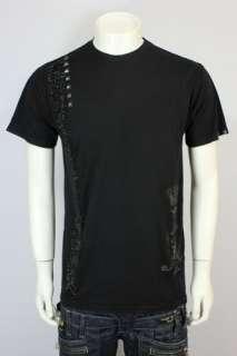 Christian Audigier Rhinestones Stripe LUX T Shirt Tee B