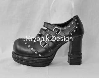 08 goth gothic punk black platform buckled shoes heels 7