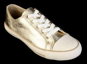 NEW BURBERRY LADIES SIGNATURE GOLD LEATHER FASHION SNEAKERS 37/6.5