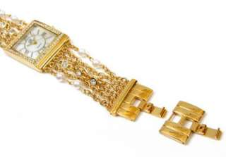 GOLD CRYSTAL & FAUX PEARLS Chain Strands Bracelet Jewelry WATCH