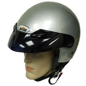 Motorcycle Street Bike Open Face 3/4 Adult Helmet Silver