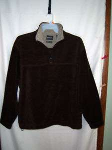 St Johns Bay, brown fleece pullover, shirt/jacket, sz L