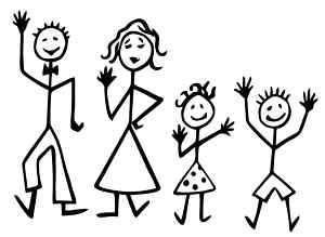 Family Stick Figure Wall/Car/Truck Decal/Sticker