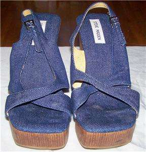 Steve Madden Womens Size 10 B Blue Denim Jean Platform Wedge Sandals