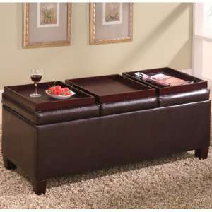 Storage Ottoman with Reversible Trays by Coaster: Home