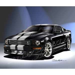 2007 FORD MUSTANG ELEANOR CAR ART SIGNED PRINT