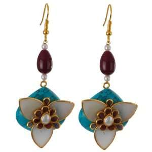 : Kundan Earring with Pachi Work on Turquoise Stone: Everything Else