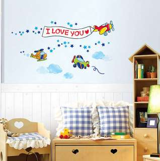 Kids Wall Stickers Home Vinyl decals Mural Airplanes