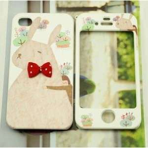 Pinky Rabbit Full Case Front+back for Iphone 4 Case / Iphone 4s Case