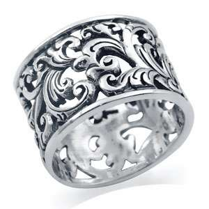 12MM 925 Sterling Silver SCROLL/FILIGREE Band Ring