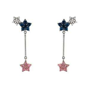 Unique Multi Color Sapphire White Gold Star Earrings Jewelry