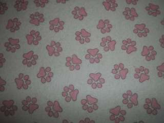 Flannel Pink Paw Prints Dog Pup Bed Crate Auto Pad Mat Cushion