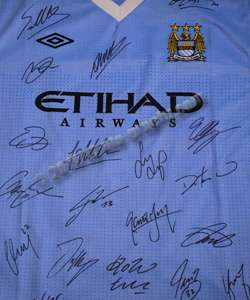 2012 Manchester Man City SIGNED shirt jersey Hm Aguero
