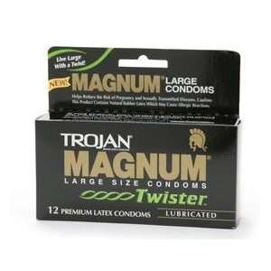 Trojan Magnum Twister 12Pack   Condoms: Health & Personal
