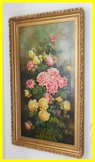 VICTORIAN ROSES FLOWER OIL PAINTING 1890S ORIGINAL FRAME