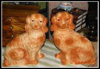 Unusual Pair of Antique Staffordshire Pottery Spaniel Dogs NR