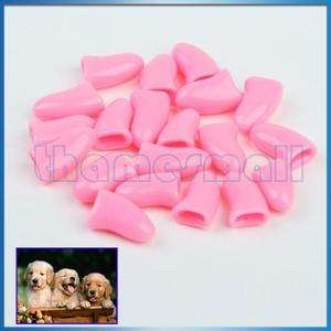 20Pcs Nail Caps Paw Claws for Pet Dog Cat Pink #M New
