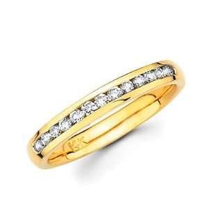 Size  10.5   14k Gold Channel Set 13 Round Diamond Wedding Ring Band 1