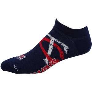 Twins Navy Blue Spattered Logo Ankle Socks