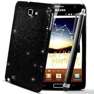 Black Sparkle Glitter Hard Case Cover Samsung Galaxy Note