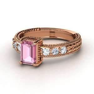 Isle Ring, Emerald Cut Pink Tourmaline 14K Rose Gold Ring with Diamond