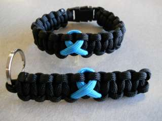 CERVICAL OVARIAN CANCER~ *TEAL RIBBON* PARACORD BRACELET & KEYCHAIN