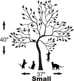 BIG TREE WITH KITTENS BIRD CAT WALL Sticker Mural