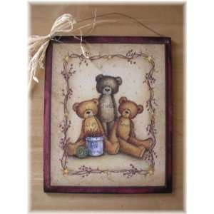 Country Teddy Bear Live Laugh Love Sign Wooden Wall Decor