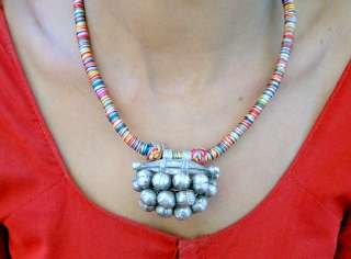 vintage antique ethnic tribal old silver pendant neckla