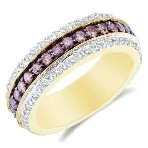 White Two Tone Gold Large White and Chocolate Brown Diamond Eternity