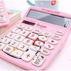 Large Cute Pink Hello Kitty Style Calculator(White Keypad