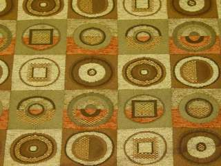 Chatroom Autumn Brown Green Modern Retro Squares Upholstery Fabric bty