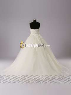 Gorgeous A line Appliqued Beads Tulle Wedding Dress Bridal Gown