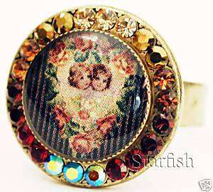 Michal Negrin Cherubs Cameo Antique Style Crystals Ring