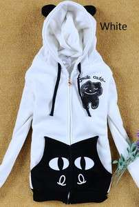 Girls Fashion Cute Ears Smile Cats Zipper Cotton Hoodie Jacket