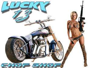 CUSTOM HARLEY MOTORCYCLE LUCKY 13 CHOP SHOP SEXY GIRL T SHIRT
