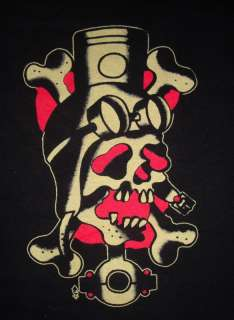 SKULL PISTON TATTOO SHIRT ROCKABILLY MEN&WOMEN WW2 ART