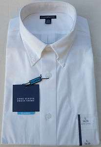 New Mens Croft & Barrow Solid White Dress Shirt Classic Fit   Long