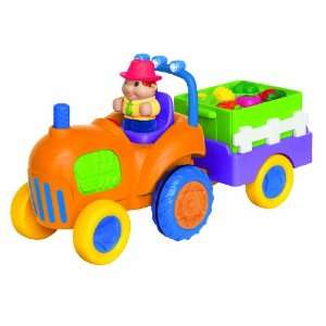 Small World Express Preschool Toys Farm Tractor W/Trailer