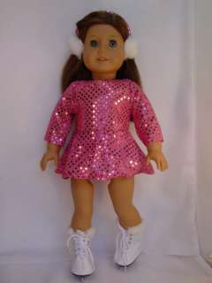 Doll Clothes Pink Ice Skate 3 Pc outfit fit American Girl & Bitty Baby