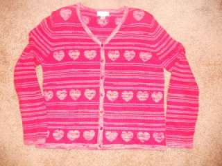 Christopher and Banks Large Valentine Heart Sweater Red Pink Cardigan